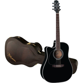 Takamine Legacy Series EF341SC Left-Handed Dreadnought Acoustic Electric Guitar w/ Case, Black