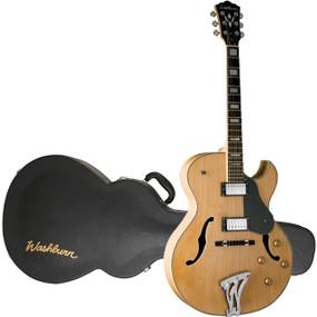 Washburn J3NK Jazz Series Hollowbody Electric Guitar with Case, Natural
