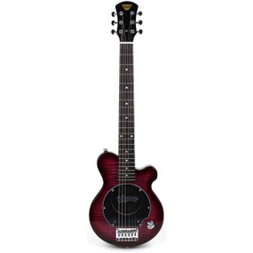 Pignose PGG-200-RFM Mini Electric Travel Guitar with Built-in Amp, Red Flame Maple