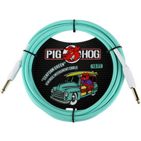Pig Hog PCH10SG Vintage Series 10ft Woven Instrument Cable, Seafoam Green