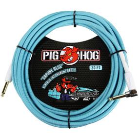 Pig Hog PCH20DBR Vintage Series 20ft Woven Instrument Cable, Daphne Blue