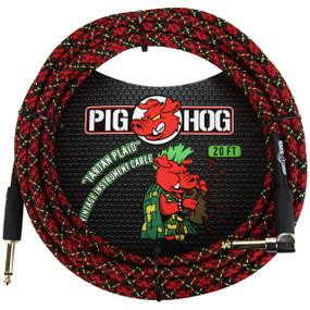 Pig Hog PCH20PLR Vintage Series 20ft Woven Instrument Cable, Tartan Plaid