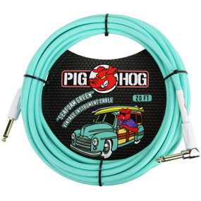 Pig Hog PCH20SGR Vintage Series 20ft Woven Instrument Cable, Seafoam Green