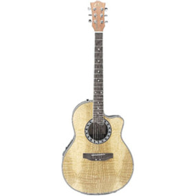 Eleca EAG3 Shallow Bowl Acoustic Electric Guitar, Natural (EAG3-N)