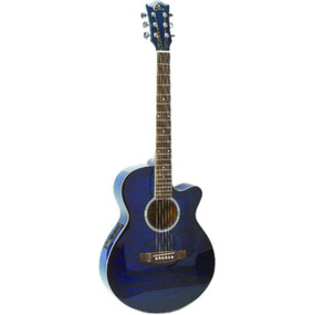 Eleca EAG6 Quilt Top 6-String Acoustic Electric Guitar, Blue Burst (EAG6-BL)