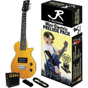 J. Reynolds Kids 1/2 Size Mini Electric Guitar Prelude Package, Gold Rush (JRPKLPGD)