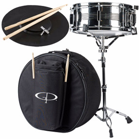 "GP Percussion SK22 5.5x14"" Student Snare Drum Kit w/Case, Stand, Sticks and Practice Pad (SK22)"