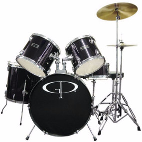 GP Percussion GP100 Player Complete Full Size 5-Piece Drum Set, Black (GP100B)