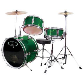 GP Percussion GP50 Complete 3-Piece Junior Child Size Drum Set, Metallic Green