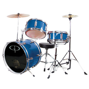 GP Percussion GP50 Complete 3-Piece Junior Child Size Drum Set, Royal Blue