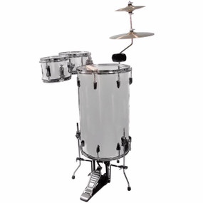 GP Percussion GP75SV Complete 3-Piece Cocktail Drum Set, Metallic Silver (GP75SV)