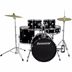 Ludwig LC175 Accent Drive 5-Piece Complete Drum Set, Black (LC1751)
