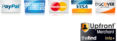 We accept Paypal, American Express, Mastercard, Visa, and Discover.