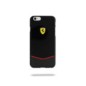Ferrari Scuderia Gossy Carbon Fiber Bottom Hard Case for iPhone 6 Plus / 6s Plus - Black