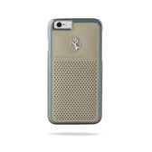Ferrari Scuderia Berlinetta Perforated Leather Hard Case for iPhone 6 / 6s - Gray w/ Beige Stitching