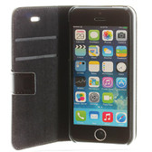 BMW Real Leather Book type Flip Case for iPhone 5 / 5s / SE - Black w/ Blue Stitching