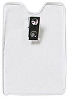 1810-1200 Clear Vinyl, Orange Peel Texture Vertical Badge Holder W/ 2 Hole Clip - Qty. 100