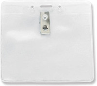 1815-1405 Clear Vinyl Horizontal Badge Holder W/ 2-hole Clip & Slot & Chain Holes - Qty. 100
