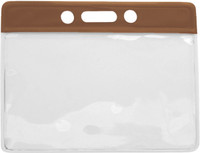 1820-1003 Brown Horizontal Vinyl Color-bar Badge Holder - Data/credit Card Size - Qty. 100