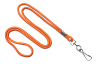 "2135-3005 Orange Round 1/8"" Standard Lanyard W/ Nickel Plated Steel Swivel Hook - Qty. 100"