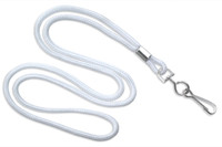 "2135-3008 White Round 1/8"" Standard Lanyard W/ Nickel Plated Steel Swivel Hook - Qty. 100"