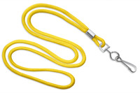 "2135-3009 Yellow Round 1/8"" Standard Lanyard W/ Nickel Plated Steel Swivel Hook - Qty. 100"