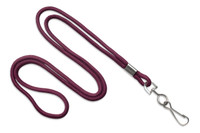 "2135-3017 Maroon Round 1/8"" Standard Lanyard W/ Nickel Plated Steel Swivel Hook - Qty. 100"