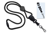 "2135-4501 Black 1/4"" Round Lanyard W/Breakaway, Diamond Slider & Detach Swivel Hook - Qty. 100"