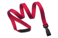 "2137-2060 Red Recycled PET 3/8"" Flat Lanyard W/ Breakaway/""no-twist"" Wide Plastic Hook - Qty. 100"