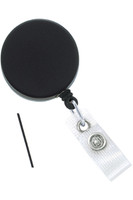 2120-3305 Heavy-Duty Black /Chrome Badge Reel w/Metal Wire Reinforced Vinyl Strap & Belt Clip - Qty. 100