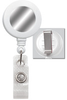 2120-3108 White Badge Reel W/ Silver Sticker, Reinforced Vinyl Strap & Belt Clip - Qty. 100