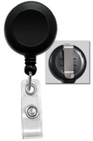 2120-3031 Black Badge Reel W/ Clear Vinyl Strap & Belt Clip - Qty. 100