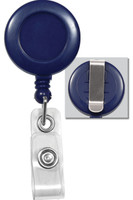 2120-3032 Royal Blue Badge Reel W/ Clear Vinyl Strap & Belt Clip - Qty. 100