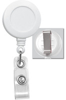 2120-3038 White Badge Reel W/ Clear Vinyl Strap & Belt Clip - Qty. 100