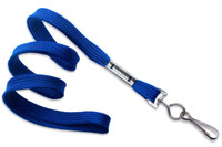 "2135-3502 Royal Blue 3/8"" Flat Braid Woven Lanyard W/ Nickel-plated Steel Swivel Hook - Qty. 100"