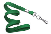 "2135-3504 Green 3/8"" Flat Braid - Woven Lanyard W/ Nickel-plated Steel Swivel Hook - Qty. 100"