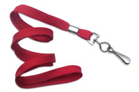 "2135-3506 Red 3/8"" Flat Braid Woven Lanyard W/ Nickel-plated Steel Swivel Hook - Qty. 100"