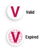 "06122 Red ""V"" Expiring TIMEspot Frontpart Indicator -One Day Expiration - Pkg. of 1,000"