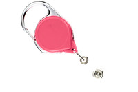 704-CB-PNK Carabiner Badge Reel w/ Clear Vinyl Strap - Qty. 100