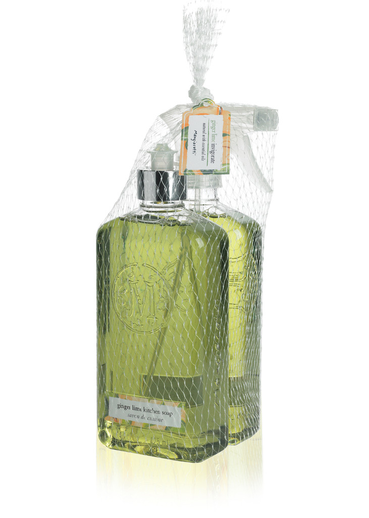 Green Kitchen Soap and Surface Cleaner bottles packaged together in netting