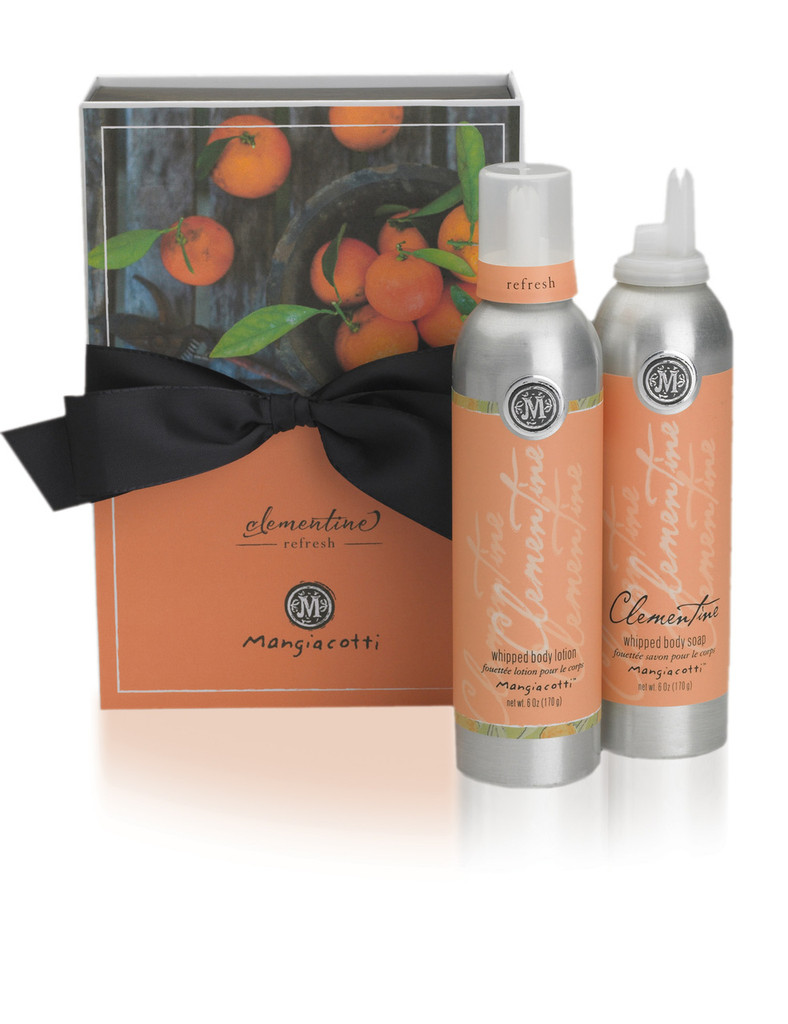 Orange box with black bow and both Whipped Body Lotion and Whipped Body Wash.