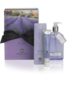 Box with black bow and lavender 12 ounce hand wash bottle and 1.8 ounce hand repair tube