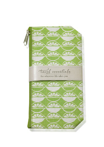 Green cosmetic bag with white lime design print