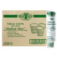 MaxValu Plastic Leak Proof Water Cup 180ml Rolled Rim White 1000 Cups | Maxpak