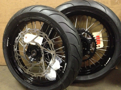 Warp 9 KLR650 Supermoto Wheels with Tires
