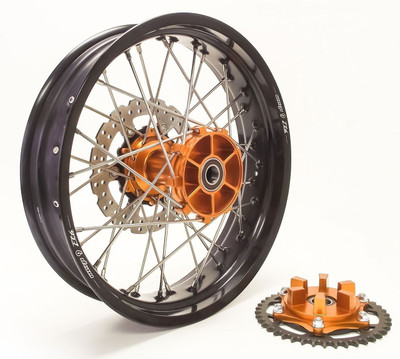 KTM 950/990 Adv Rear Wheel Orange Hub Black Rim Silver Spokes Silver Nipples w/Carrier