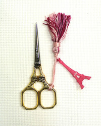 Gold Handled Eiffel Tower Scissors - Pink Tassel