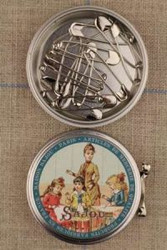 Metal Tins with 16  Safety Pins