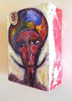 "Oil on box canvas. 8"".5 x 12"" x 3"".5"