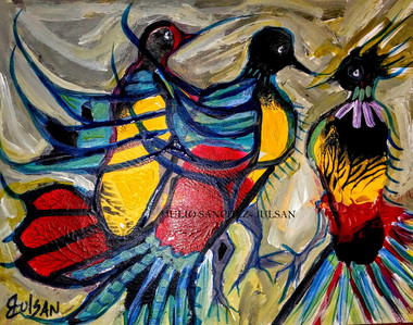 "BIRDS, MIXED MEDIA ON HARDBOARD 8"" X 10"" APROX."